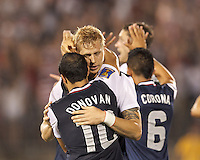USMNT substitute midfielder Brek Shea (23) celebrates his goal with teammates.  In CONCACAF Gold Cup Group Stage, the U.S. Men's National Team (USMNT) (blue/white) defeated Costa Rica (red/blue), 1-0, at Rentschler Field, East Hartford, CT on July 16, 2013.