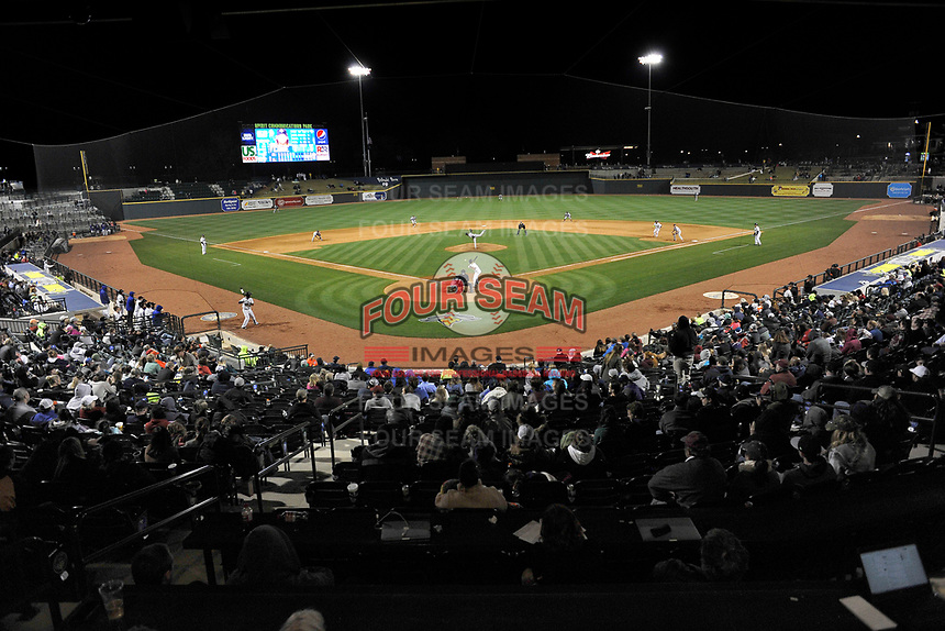 Photo of the Columbia Fireflies in a game against the Augusta GreenJackets on Opening Day, Thursday, April 6, 2017, at Spirit Communications Park in Columbia, South Carolina. (Tom Priddy/Four Seam Images)