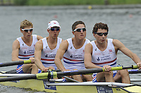 Amsterdam, NETHERLANDSS, GBR LM4-. Bow. Jonathan CLEGG, Jon PRESTON, William FLETCHER and Jamie KIRKWOOD..  2011 FISA U23 World Rowing Championships, {dow}, {date} [Mandatory credit:  Intersport Images].