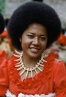 Fijian girl in traditional costume with bone necklace during native ceremony at tribal gathering in Fiji, South Pacific