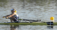 Hazenwinkel, BELGIUM,  Annie VERNON, with Cornish Blade markings, in the last stroke of the morning time trail, at the GB Rowing Senior Trails, on Sun,15.04.2007  [Credit, Peter Spurrier/Intersport-images]   [Mandatory Credit, Peter Spurier/ Intersport Images]. , Rowing Course, Bloso, Hazewinkel. BELGUIM