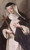 Detail of a portrait of St Agnes of Jesus, 1602-34, with her guardian angel, 18th century, by an unknown artist, in the Monastere Sainte Catherine de Sienne, or Monastery of St Catherine of Siena, Langeac, Haute Loire, France. St Agnes of Jesus, or St Agnes of Langeac, 1602-34, founded the monastery in 1623, and was prioress from 1627. Picture by Manuel Cohen