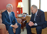 United States Vice President-elect Mike Pence meets incoming US Senate Minority Leader Chuck Schumer (Democrat of New York) in his Capitol Hill office in Washington, DC on Thursday, November 17, 2016.<br /> Credit: Ron Sachs / CNP / MediaPunch<br /> (RESTRICTION: NO New York or New Jersey Newspapers or newspapers within a 75 mile radius of New York City)