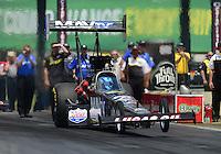 May 19, 2012; Topeka, KS, USA: NHRA top fuel dragster driver Brandon Bernstein during qualifying for the Summer Nationals at Heartland Park Topeka. Mandatory Credit: Mark J. Rebilas-