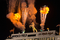 "Fireworks over the statue of ""Bucky"" the Bronco, Denver Broncos vs. Pittsburgh Steelers NFL football game, Invesco Field at Mile High (stadium), Denver, Colorado USA"