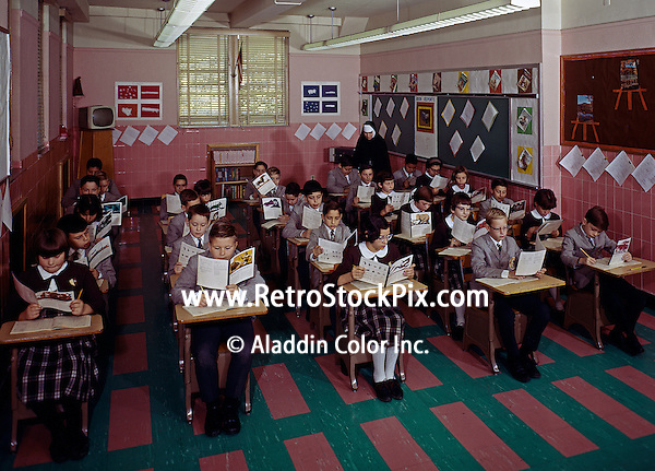 Children reading in classroom
