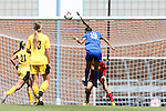 30 August 2013: Duke's Kim DeCesare (19) heads a shot towards goal. The Duke University Blue Devils played the Kennesaw State University Owls at Fetzer Field in Chapel Hill, NC in a 2013 NCAA Division I Women's Soccer match. Duke won 1-0.