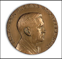 BNPS.co.uk (01202 558833)<br /> Pic: Bonhams/BNPS<br /> <br /> Also in the sale, the Nobel prize bronze medal.<br /> <br /> Two samples of mould that legendary scientist Sir Alexander Fleming used to produce penicillin have sold for almost &pound;25,000.<br /> <br /> Both specimens of the yellow-green Penicillium Notatum fungus are contained on a glass disc and date back to the 1930s when Fleming was developing his 1928 discovery of penicillin. <br /> <br /> The samples helped pave the way for the development of antibiotics which people first started to use in 1942 to treat infections which often would prove fatal.<br /> <br /> The treatment has gone on the save millions of lives across the world.