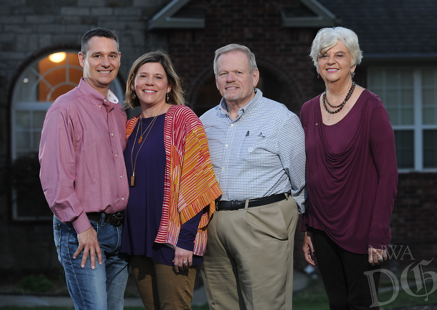 NWA Democrat-Gazette/ANDY SHUPE<br /> Derrick Bobbitt (from left) and his wife, Susan Averitt Bobbitt, are working with Susan's parents Biff and Ann Averitt and others to organize conference April 8 for parents whose child has died. Wednesday, March 29, 2017.