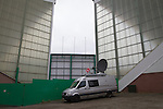 Hibernian 3 Alloa Athletic 0, 12/09/2015. Easter Road stadium, Scottish Championship. A television satellite van parked outside Easter Road stadium before the Scottish Championship match between Hibernian and visitors Alloa Athletic. The home team won the game by 3-0, watched by a crowd of 7,774. It was the Edinburgh club's second season in the second tier of Scottish football following their relegation from the Premiership in 2013-14. Photo by Colin McPherson.