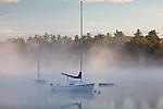 A foggy sunrise on Mount Chocorua over Silver Lake in Madison, NH, USA