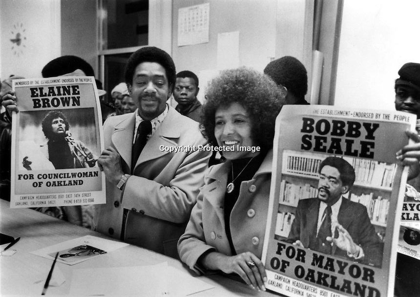 Former Black Panther Bobby Seale and Elaine Brown.running for Mayor and City Council in the city of Oakland, Ca (1973 photo by Ron Riesterer)(copyright@1973)