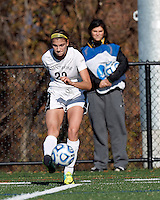 College of St Rose forward Gianna Smith (22) crosses the ball. . In 2012 NCAA Division II Women's Soccer Championship Tournament First Round, College of St Rose (white) defeated Wilmington University (black), 3-0, on Ronald J. Abdow Field at American International College on November 9, 2012.