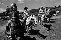 Competitive ropers wait for their turns at the annual Lincoln Rodeo in Lincoln, MT in June 2006.  The Lincoln Rodeo is an open rodeo, which means competitors need not be a member of a professional rodeo association.