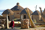 South America, Bolivia, Huatajata. Andean Eco-Village of Inca Utama on Lake Titicaca.