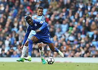 Leicester City's Daniel Amartey shields the ball from Manchester City's Gabriel Jesus<br /> <br /> Photographer Stephen White/CameraSport<br /> <br /> The Premier League - Manchester City v Leicester City - Saturday 13th May 2017 - Etihad Stadium - Manchester<br /> <br /> World Copyright &copy; 2017 CameraSport. All rights reserved. 43 Linden Ave. Countesthorpe. Leicester. England. LE8 5PG - Tel: +44 (0) 116 277 4147 - admin@camerasport.com - www.camerasport.com