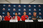 13 December 2007: From left: Ohio State's Casey Latchem, Xavier Balc, Eric Brunner, and head coach John Bluem. The Ohio State Buckeyes held a press conference at SAS Stadium in Cary, North Carolina one day before playing in a NCAA Division I Mens College Cup semifinal game.