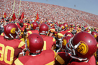 7 October 2006: Players huddle before the start of the NCAA College Football Pac-10 USC Trojans 26-6 win over the Washington Huskies at the LA Coliseum during a sunny saturday game in Los Angeles, CA.<br />