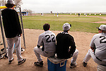 A view from the back of the dugout during a doubleheader between Vale and Nyssa, (L to R) Luke Tackman, Josh Morcom, Ryan Tucke and Cory Erstrom.