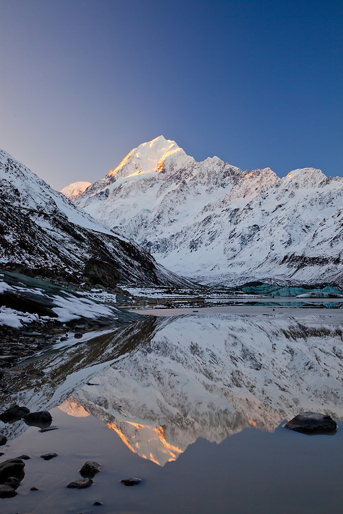 Early winter reflection of Mount Cook in Hooker Glacier Lake. New Zealand - stock photo, canvas, fine art print