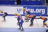 "SHORT TRACK: MOSCOW: Speed Skating Centre ""Krylatskoe"", 14-03-2015, ISU World Short Track Speed Skating Championships 2015, Semifinals Relay Men, Sjinkie KNEGT (#148), Freek VAN DER WART (#150), NETHERLANDS, ©photo Martin de Jong"