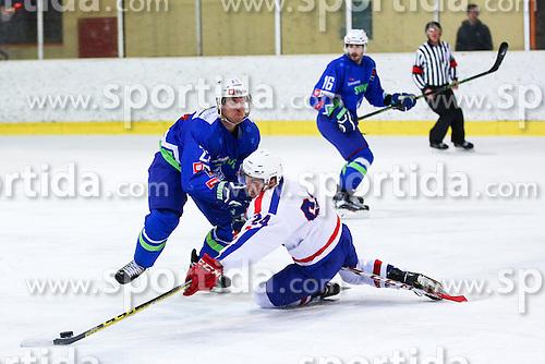 Luka Jarcov of Croatia vs Luka Vidmar of Slovenia during friendly ice hockey match between Slovenia and Croatia, on April 12, 2016 in Ledena dvorana, Bled, Slovenia. Photo By Matic Klansek Velej / Sportida