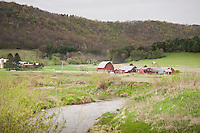 Farms line the banks of the Timber Coulee creek a trout stream in Wisconsin's Driftless Area.