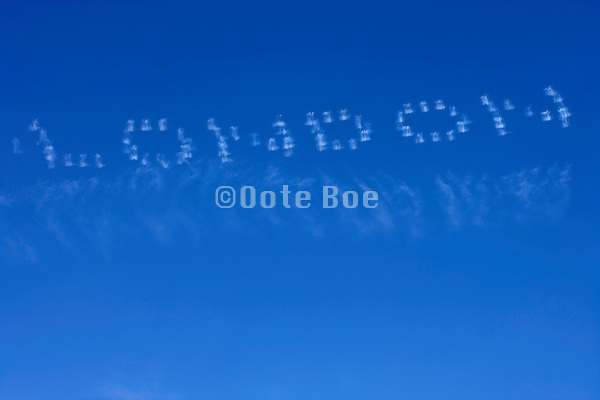 the word LONDON written in the sky