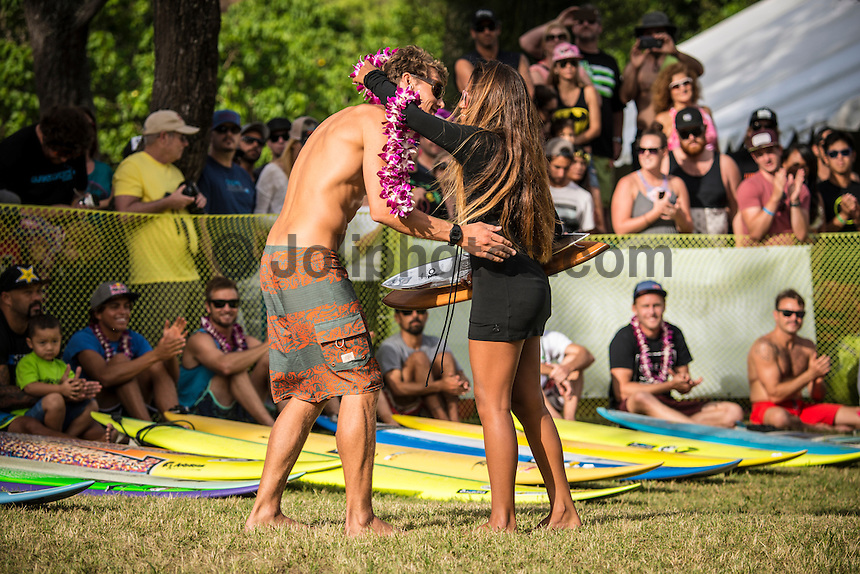 Waimea Bay, North Shore of Oahu, Hawaii.  December 4 2014) Jamie Mitchell (AUS). - The Opening Ceremony of the 2014 Quiksilver In Memory of Eddie Aikau contest was held this afternoon in the park at Waimea Bay. This winter, the big wave riding event celebrates a special milestone of 30 years. <br /> The Quiksilver In Memory of Eddie Aikau is a one-day big wave riding event that only takes place if and when waves meet a 20-foot minimum height, during the holding period of December 1 through February 28, each Hawaiian winter. The official Opening Ceremony with the Aikau Family will be held on Thursday, December 4th, 3pm, at Waimea Bay.<br />  <br /> &quot;The Eddie&quot; is the original big wave riding event and stands as the measure for every big wave event that exists in the world today. It has become an icon of surfing through its honor, integrity and rarity.<br />  <br /> The event honors Hawaiian hero Eddie Aikau, whose legacy is the respect he held for the ocean; his concern for the safety of all who entered it on his watch; and the way with which he rode Waimea Bay on its most giant and memorable days. <br />  <br /> Adherence to strict wave height standards has ensured its integrity; it is only held on days when waves meet or exceed the Hawaiian 20-foot minimum (wave face heights of approximately 40 feet). This was the threshold at which Eddie enjoyed to ride the Bay. It has been said that what makes The Eddie special is the times it doesn't run, because that is precisely its guarantee of integrity and quality days of giant surf.<br />  <br /> The competition has only been held a total of 8 times: it's inaugural year at Sunset Beach, and then seven more times at its permanent home of Waimea Bay. The Eddie was last held on December 9, 2009, won by California's Greg Long.   Photo: joliphotos.com