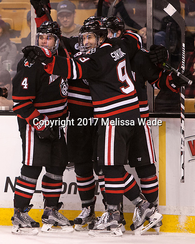 Jeremy Davies (NU - 4), Dylan Sikura (NU - 9) - The Harvard University Crimson defeated the Northeastern University Huskies 4-3 in the opening game of the 2017 Beanpot on Monday, February 6, 2017, at TD Garden in Boston, Massachusetts.