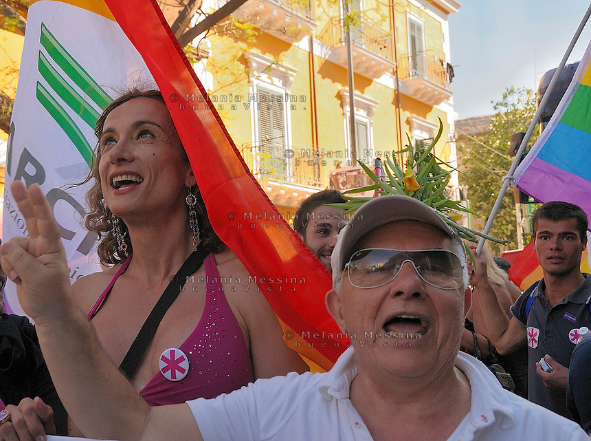 Palermo, first gay pride in Sicily, Vladimir Luxuria.<br />