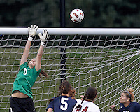 Yale University goalkeeper Rachel Ames (0) corner kick action. In overtime, Harvard University defeated Yale University,1-0, at Soldiers Field Soccer Stadium, on September 29, 2012.