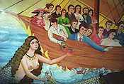 A mermaid, with ship and passengers, painted on the wall of a Roma home, in the new part of the Sintesti Roma camp. Mermaids are very popular as wall decoration, but no-one within the camp knows the reason why they were first painted..