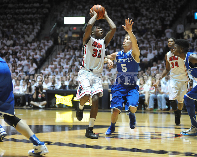 Ole Miss' Jarvis Summers (32) vs. Kentucky's Jarrod Polson (5) at the C.M. &quot;Tad&quot; Smith Coliseum on Tuesday, January 29, 2013.