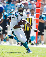 The Carolina Panthers played the New York Giants at Bank of America Stadium in Charlotte, NC.  The Panthers won 38-0 for their first victory of the season.  The Giants dropped to 0-3.  Carolina Panthers quarterback Cam Newton (1), New York Giants outside linebacker Jacquian Williams (57)