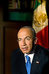 President Felipe Calderon of Mexico being interviewed at Los Pinos for Mexico The Royal Tour with Peter Greenberg.