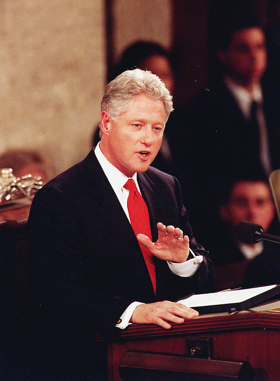01/27/00.STATE OF THE UNION -- President Bill Clinton during his last State of the Union Address before Congress. .CONGRESSIONAL QUARTERLY PHOTO BY DOUGLAS GRAHAM