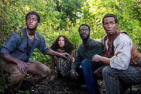 "Renwick Scott as Henry, Jurnee-Smollett-Bell as Rosalee, Aldis Hodge as Noah and Alano Miller as Cato in WGN America's ""Underground."""