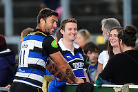 Matt Banahan of Bath Rugby mingles with supporters after the match. Pre-season friendly match, between the Scarlets and Bath Rugby on August 20, 2016 at Eirias Park in Colwyn Bay, Wales. Photo by: Patrick Khachfe / Onside Images