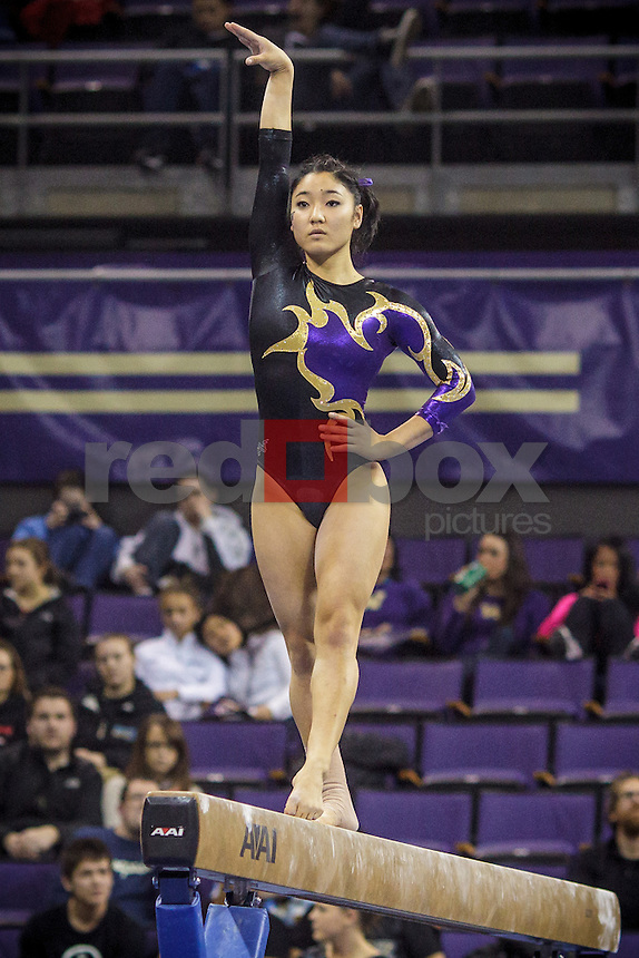 Hatsune Akaogi-University of Washington Huskies gymnastics team takes on San Jose State University and Central Michigan at Alaska Airlines Arena in Seattle Mar. 9, 2012. (Photos by Andy Rogers/Red Box Pictures)