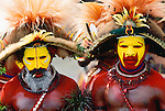 Portrait of Huli men performers, Southern Highlands Province, Papua New Guinea