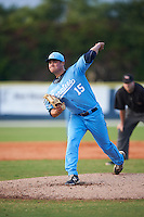 SCF Manatees starting pitcher Brendon Little (15) delivers a pitch during a game against the College of Central Florida Patriots on February 8, 2017 at Robert C. Wynn Field in Bradenton, Florida.  SCF defeated Central Florida 6-5 in eleven innings.  (Mike Janes/Four Seam Images)