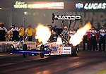 Jun. 17, 2011; Bristol, TN, USA: NHRA top fuel driver Antron Brown during qualifying for the Thunder Valley Nationals at Bristol Dragway. Mandatory Credit: Mark J. Rebilas-