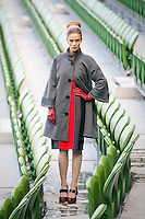 29/9/2010. Marks and Spencer's new Autumn Winter Fashion Collection. Model Nikki Bonass is pictured wearing a grey jersey coat EUR109 and a ribbed jersey skirt EUR35 at the Aviva stadium, Dublin for the launch of Marks and Spencer's new Autumn Winter Fashion Collection. Picture James Horan/Collins Photos