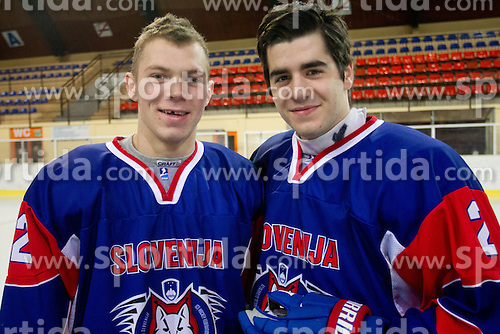 Luka Logar and Jurij Repe during Practice session of Slovenian U20 ice-hockey team, on December 08, 2011 in Ledena dvorana, Bled, Slovenia. (Photo By Vid Ponikvar / Sportida.com)
