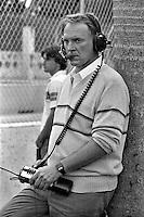 MIAMI, FL - FEBRUARY 26: Dan Gurney watches the Budweiser Grand Prix of Miami IMSA GTU race on the temporary street circuit through Bicentennial Park in Miami, Florida, on February 26, 1983.