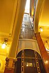 Elevator in Municipal House (Czech: Obecni Dum), a stunning art nouveau landmark civic building in Prague, Czech Republic