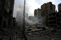 Beirut, Lebanon, July 16 2006.Hareit Hreik, Hezbollah stronghold in Beirut has been heavily damaged by Israeli bombs, 10 storeys buildings have been reduced to rubles...