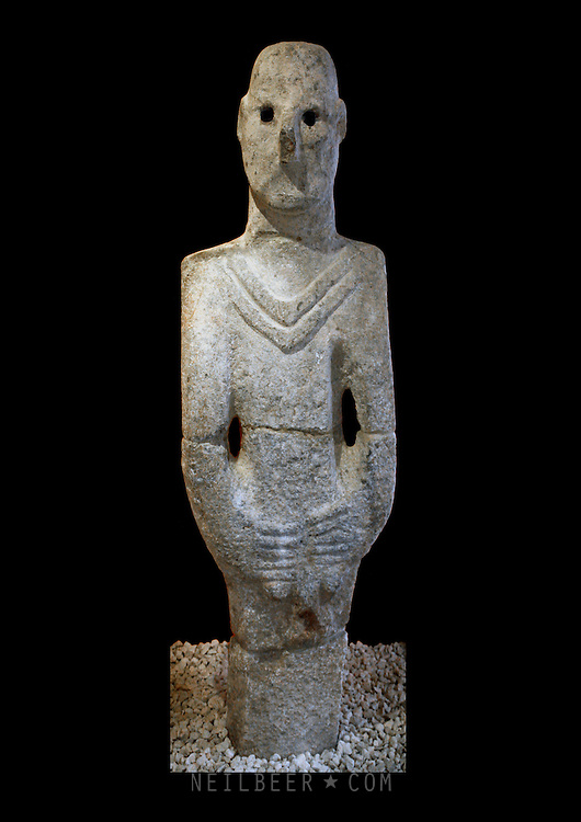 The Balıklıg&ouml;l Statue in Urfa Museum in Turkey It is the oldest Statue discovered to date.<br /> It features a man holding his genitalia and was discovered in a Neolithic Temple.<br /> Gobekli Tepe