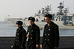Photo by Heathcliff Omalley..Vladivostok, Russia 25 November 2007.Russian sailors walking along the sea-front promenade in the City of Vladivostok in Far Eastern Russia, which is home to Russia's Pacific Fleet and was a closed city until 1992.